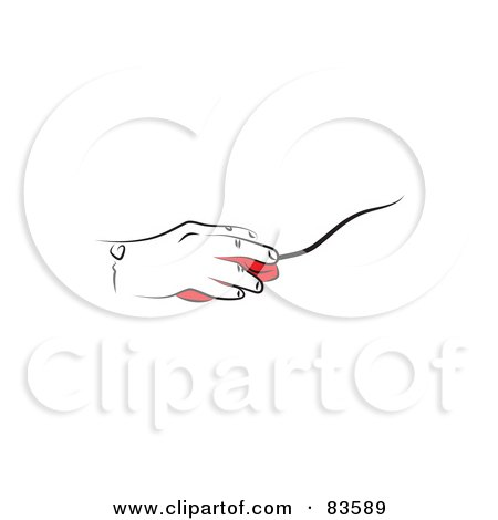 Line Drawn Hand On A Red Computer Mouse Posters, Art Prints