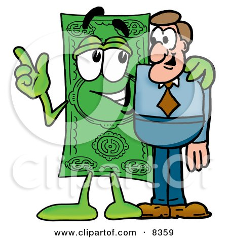 Clipart Picture of a Dollar Bill Mascot Cartoon Character Talking to a Business Man by Toons4Biz