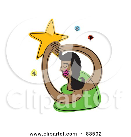 Royalty-Free (RF) Clipart Illustration of an Abstract Woman Reaching For The Stars by Prawny