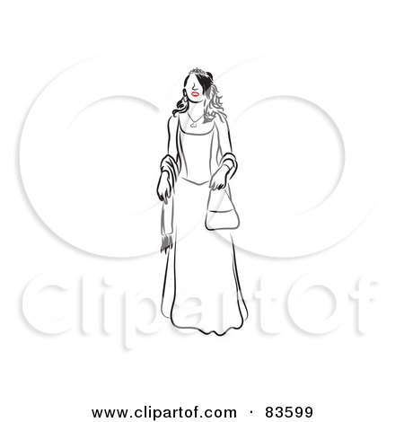Royalty-Free (RF) Clipart Illustration of a Line Drawing Of A Red Lipped Woman In A Prom Dress by Prawny