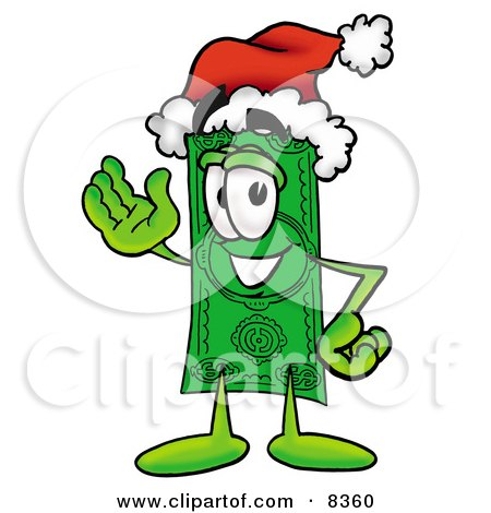 Clipart Picture of a Dollar Bill Mascot Cartoon Character Wearing a Santa Hat and Waving by Toons4Biz