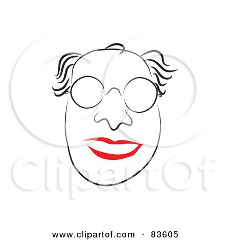 Royalty-Free (RF) Clipart Illustration of a Line Drawn Professor Man With Red Lips by Prawny