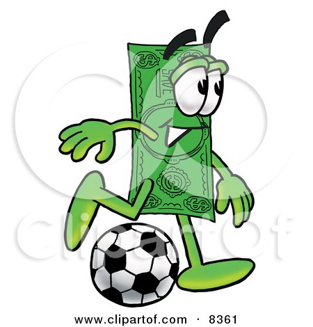 Clipart Picture of a Dollar Bill Mascot Cartoon Character Kicking a Soccer Ball by Toons4Biz