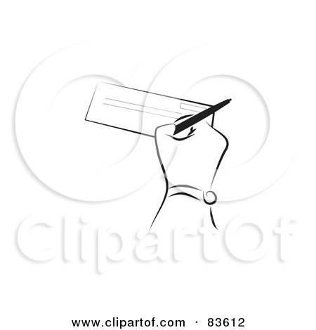Royalty-Free (RF) Clipart Illustration of a Black And White Line Drawn Hand Signing A Check by Prawny