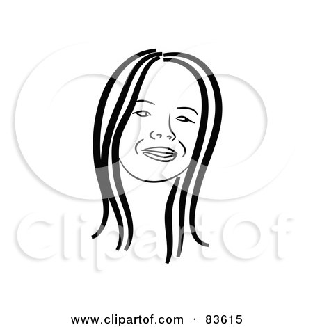Royalty-Free (RF) Clipart Illustration of a Black And White Line Drawn Girl's Face With Straight Hair by Prawny