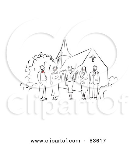Royalty-Free (RF) Clipart Illustration of a Line Drawn Wedding Party With Red Accents, Standing Outside Of A Church by Prawny
