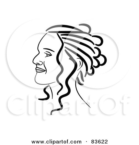 Royalty-Free (RF) Clipart Illustration of a Black And White Line Drawn Girl's Face With Her Hair Up by Prawny