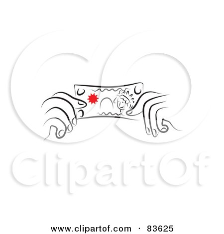 Royalty-Free (RF) Clipart Illustration of a Pair Of Line Drawn Hands Holding A Dollar Bill by Prawny