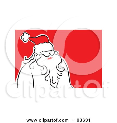 Royalty-Free (RF) Clipart Illustration of a Line Drawn Santa Wearing A Red Hat by Prawny