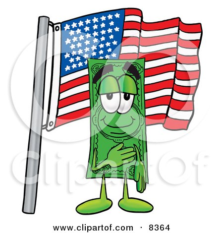 Clipart Picture of a Dollar Bill Mascot Cartoon Character Pledging Allegiance to an American Flag by Toons4Biz