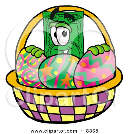 Clipart Picture of a Dollar Bill Mascot Cartoon Character in an Easter Basket Full of Decorated Easter Eggs by Toons4Biz