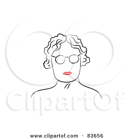 Royalty-Free (RF) Clipart Illustration of a Line Drawing Of A Red Lipped Senior Woman's Face by Prawny