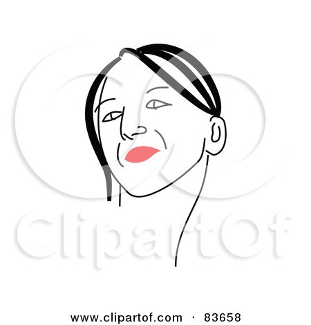 Royalty-Free (RF) Clipart Illustration of a Line Drawing Of A Red Lipped Woman's Face - Version 9 by Prawny