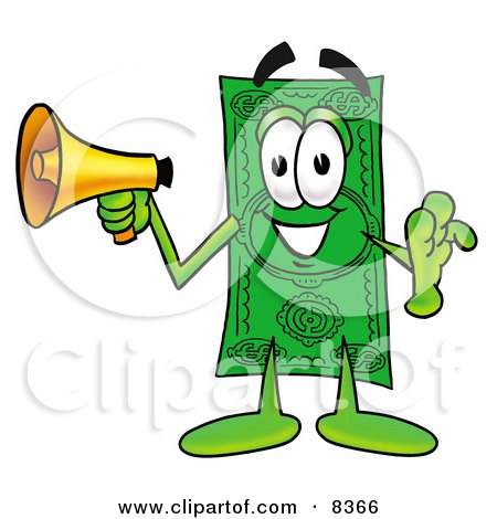 Clipart Picture of a Dollar Bill Mascot Cartoon Character Screaming Into a Megaphone by Toons4Biz