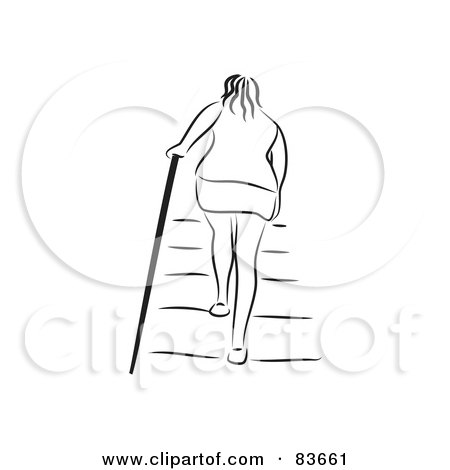 Royalty-Free (RF) Clipart Illustration of a Rear View Of A Woman Walking Up Stairs by Prawny