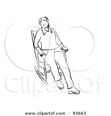 Royalty-Free (RF) Clipart Illustration of a Line Drawn Woman With Red Lips, Sitting In A Rocking Chair by Prawny