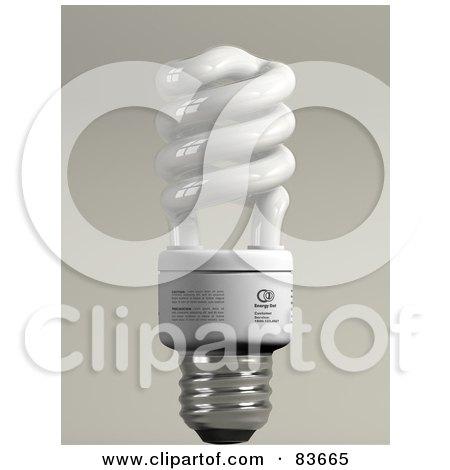 3d Upright Spiral Energy Saver Light Bulb On Gray Posters, Art Prints