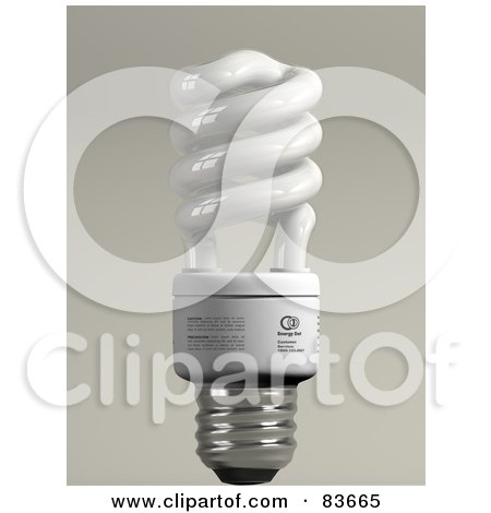 Royalty-Free (RF) Clipart Illustration of a 3d Upright Spiral Energy Saver Light Bulb On Gray by Leo Blanchette
