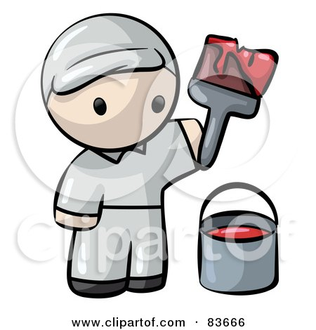 Royalty-Free (RF) Clipart Illustration of a Human Factor House Painter Man With Red Paint And A Brush by Leo Blanchette
