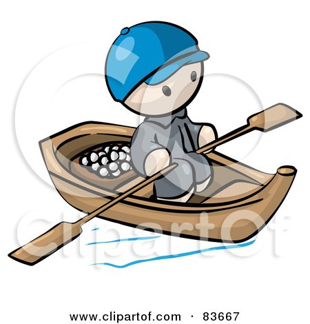 Royalty-Free (RF) Clipart Illustration of an Oriental Human Factor Man In A Floating Market Boat With Food by Leo Blanchette