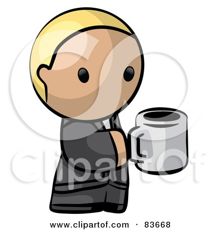 Royalty-Free (RF) Clipart Illustration of a Blond Human Factor Business Man Holding A Cup Of Coffee by Leo Blanchette