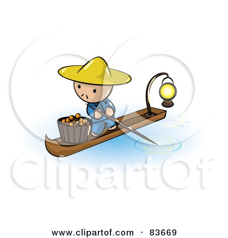 Royalty-Free (RF) Clipart Illustration of an Oriental Human Factor Man In A Floating Market Boat With Oranges by Leo Blanchette