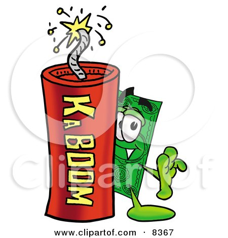 Clipart Picture of a Dollar Bill Mascot Cartoon Character Standing With a Lit Stick of Dynamite by Toons4Biz