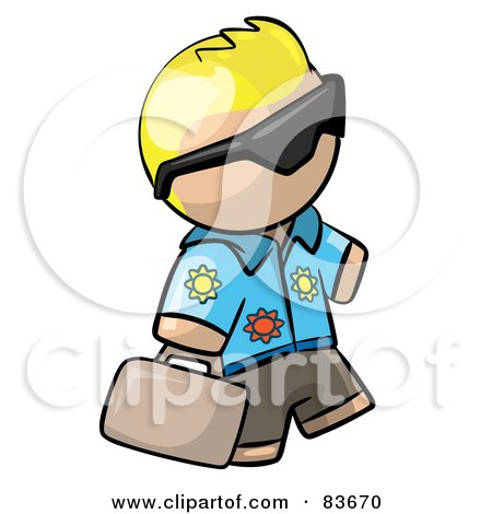 Royalty-Free (RF) Clipart Illustration of a Blond Human Factor Tourist Guy Wearing Shades And Carrying Luggage by Leo Blanchette
