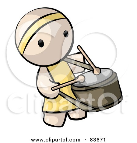 Royalty-Free (RF) Clipart Illustration of a Chinese Human Factor Drummer Man by Leo Blanchette