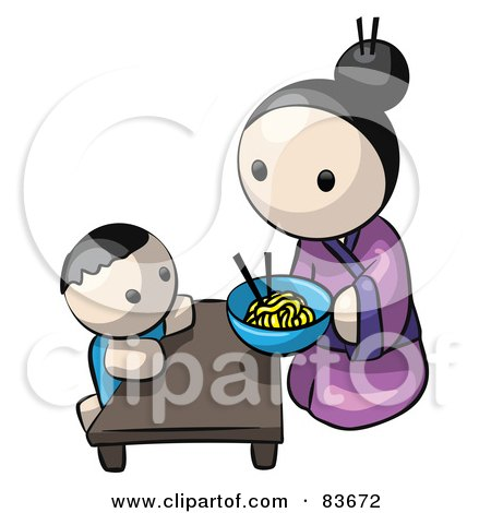 Royalty-Free (RF) Clipart Illustration of a Japanese Human Factor Mother Kneeling And Feeding Her Child Saimin Noodles by Leo Blanchette