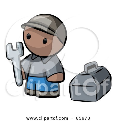Royalty-Free (RF) Clipart Illustration of a Black Human Factor Contractor Man Holding A Wrench And Standing By A Toolbox by Leo Blanchette