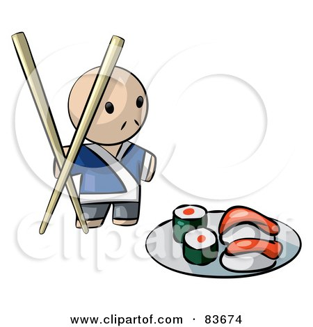 Royalty-Free (RF) Clipart Illustration of a Male Human Factor Sushi Chef With Giant Chopsticks by Leo Blanchette