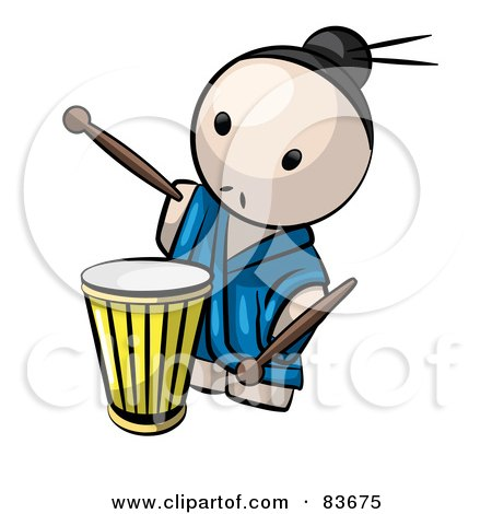 Royalty-Free (RF) Clipart Illustration of a Japanese Human Factor Man Playing A Drum by Leo Blanchette