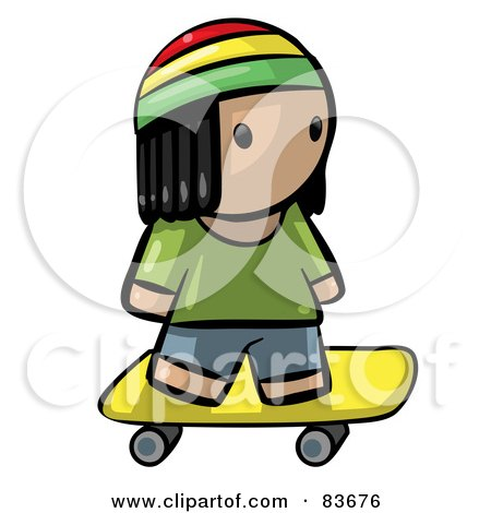 Royalty-Free (RF) Clipart Illustration of a Human Factor Jamaican Boy Skateboarding by Leo Blanchette