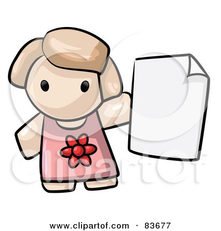 Royalty-Free (RF) Clipart Illustration of a Human Factor Girl Holding A Blank Page Or Report Card by Leo Blanchette