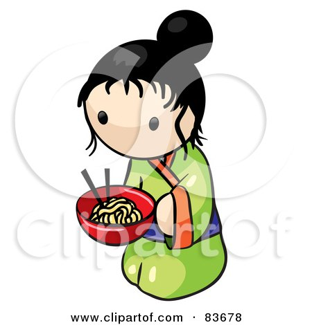 Kneeling Japanese Human Factor Woman With A Bowl Of Saimin Noodles Posters, Art Prints