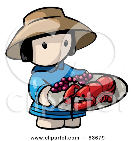 Royalty-Free (RF) Clipart Illustration of a Chinese Human Factor Woman Carrying A Lobster Platter by Leo Blanchette
