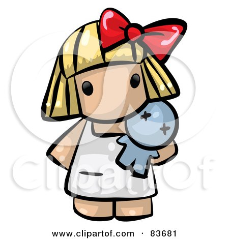 Blond Human Factor Girl Holding A Toy Doll Posters, Art Prints