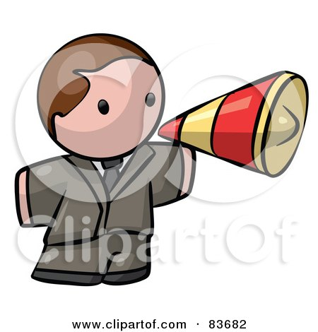 Royalty-Free (RF) Clipart Illustration of a Brunette Caucasian Human Factor Business Man Announcing Through A Megaphone by Leo Blanchette