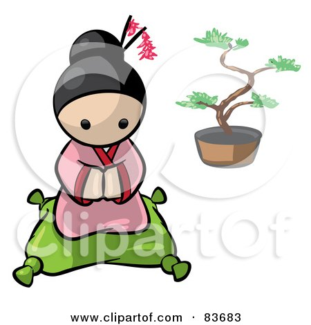 Royalty-Free (RF) Clipart Illustration of a Geisha Human Factor Woman Kneeling On A Pillow by Leo Blanchette