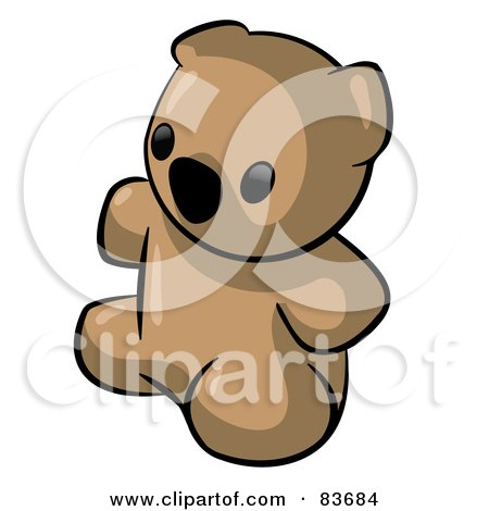 Royalty-Free (RF) Clipart Illustration of a Cute Sitting Brown Animal Factor Teddy Bear by Leo Blanchette