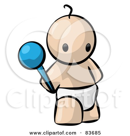 Royalty-Free (RF) Clipart Illustration of a Standing Human Factor Baby Holding A Rattle by Leo Blanchette