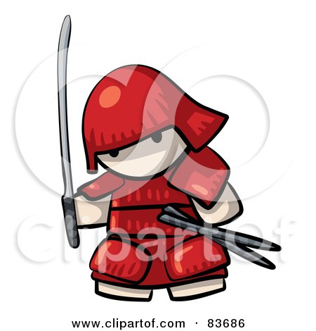 Royalty-Free (RF) Clipart Illustration of a Japanese Human Factor Warrior In Red Armor by Leo Blanchette