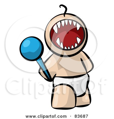 Royalty-Free (RF) Clipart Illustration of a Screaming Bratty Human Factor Baby With A Rattle by Leo Blanchette
