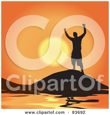 Royalty-Free (RF) Clipart Illustration of a Silhouetted Successful Man Atop A Coastal Mountain Against An Orange Sunset by Arena Creative