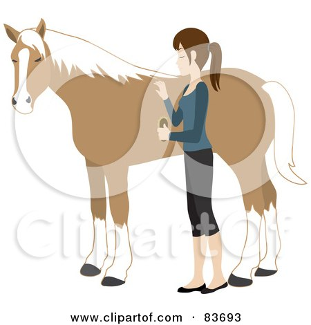 Royalty-Free (RF) Clipart Illustration of a Young Caucasian Woman Grooming Her Pet Horse With A Brush by Rosie Piter