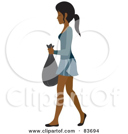 Royalty-Free (RF) Clipart Illustration of a Young Indian Woman Taking Out A Bag Of Trash by Rosie Piter