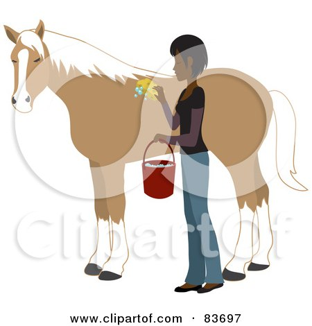 Royalty-Free (RF) Clipart Illustration of a Young Indian Woman Washing And Grooming Her Horse by Rosie Piter