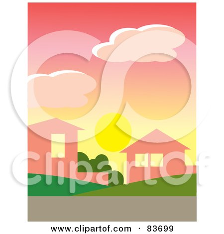 Royalty-Free (RF) Clipart Illustration of The Sun Below Clouds In A Pink Dawn Sky Over Homes In A Neighborhood by Rosie Piter