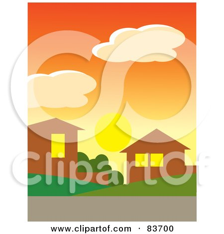 Royalty-Free (RF) Clipart Illustration of The Sun Below Clouds In An Orange Sunset Sky Over Homes In A Neighborhood by Rosie Piter